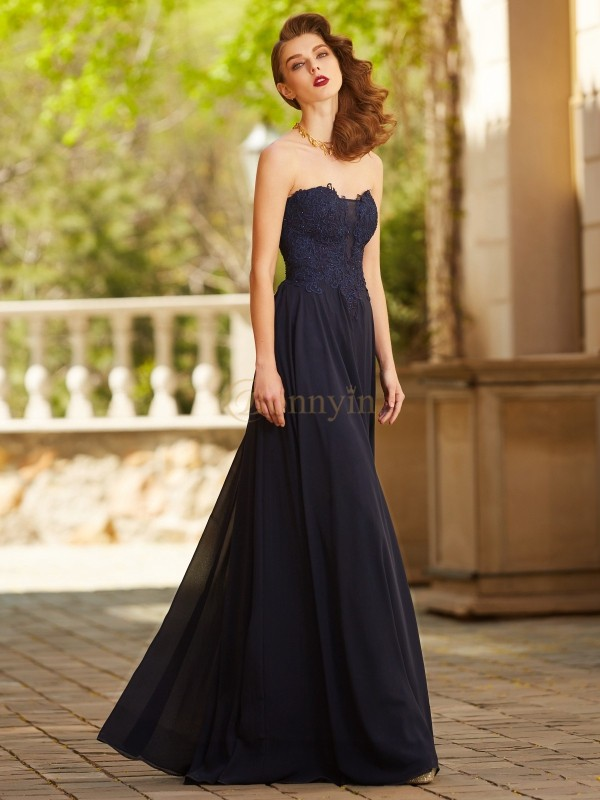 Dark Navy Chiffon Sweetheart A-Line/Princess Floor-Length Prom Dresses