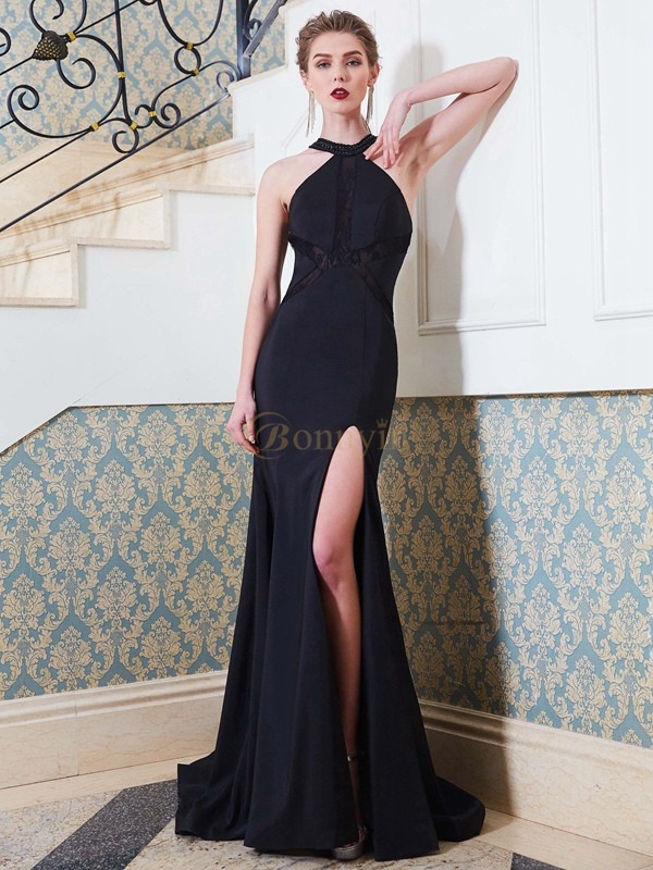 Dark Navy Elastic Woven Satin Jewel Sheath/Column Sweep/Brush Train Prom Dresses