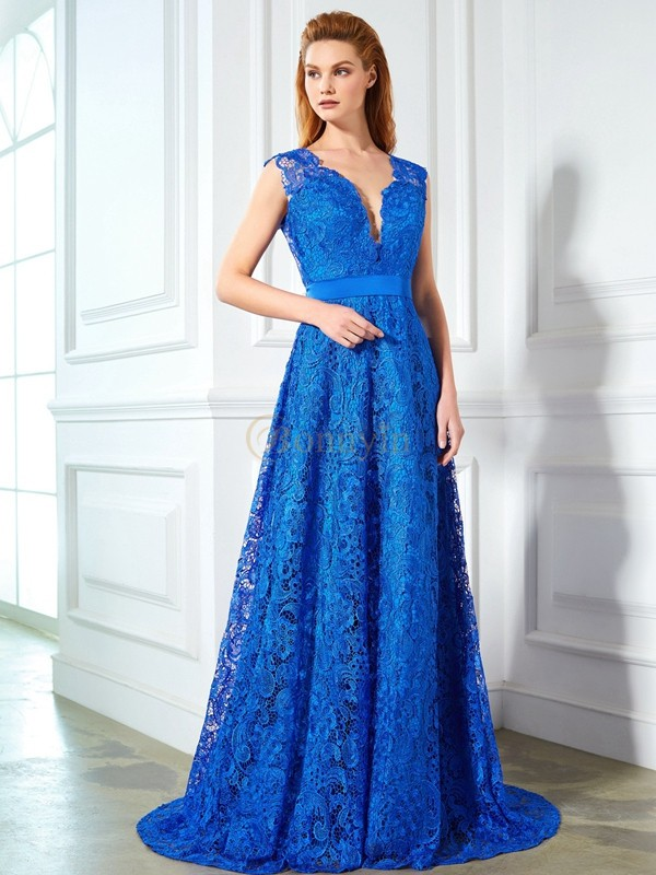 Royal Blue Lace V-neck A-Line/Princess Sweep/Brush Train Prom Dresses