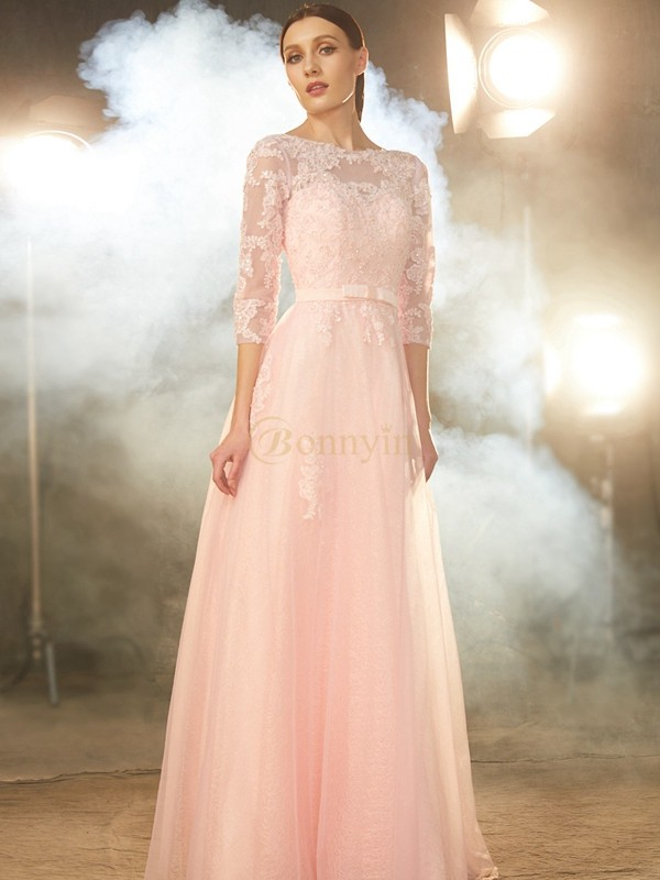 Pearl Pink Tulle Bateau A-Line/Princess Floor-Length Prom Dresses