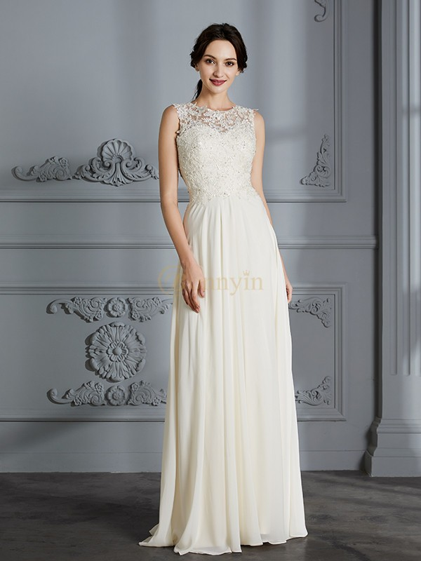 Ivory Chiffon Scoop A-Line/Princess Floor-Length Wedding Dresses