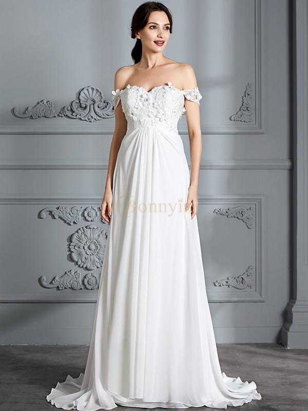 Ivory Chiffon Off-the-Shoulder A-Line/Princess Floor-Length Wedding Dresses