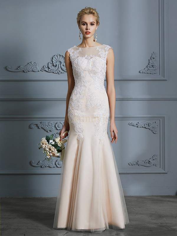 Champagne Tulle Scoop Trumpet/Mermaid Floor-Length Wedding Dresses