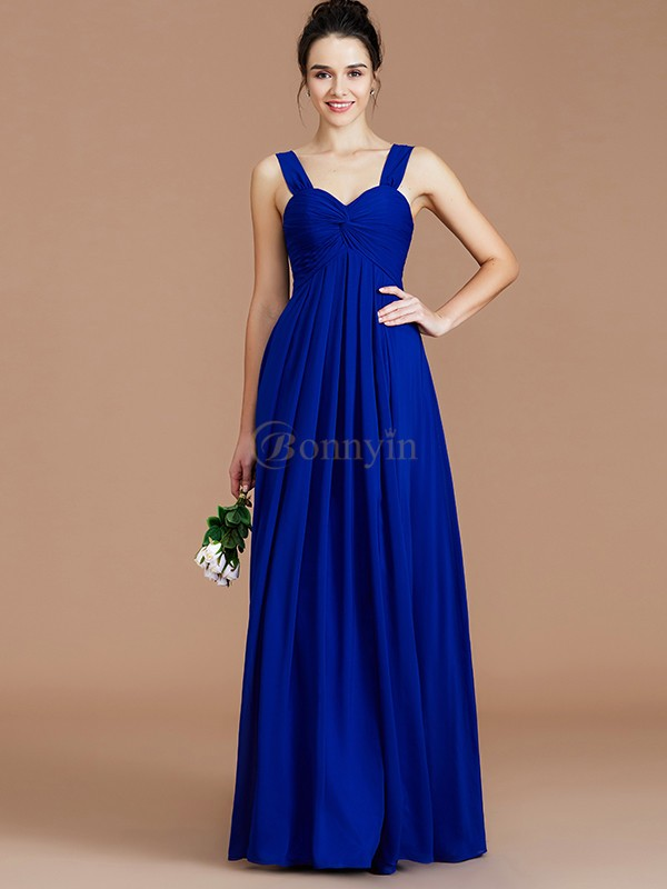 Royal Blue Chiffon Sweetheart Empire Floor-Length Bridesmaid Dresses