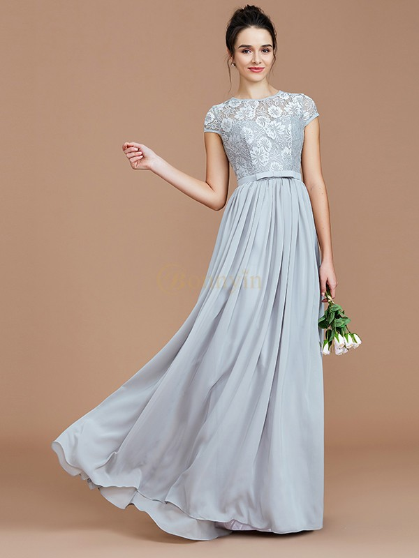 Silver Chiffon Jewel A-Line/Princess Floor-Length Bridesmaid Dresses