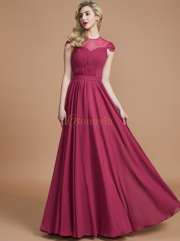 Burgundy Chiffon Scoop A-Line/Princess Floor-Length Bridesmaid Dresses