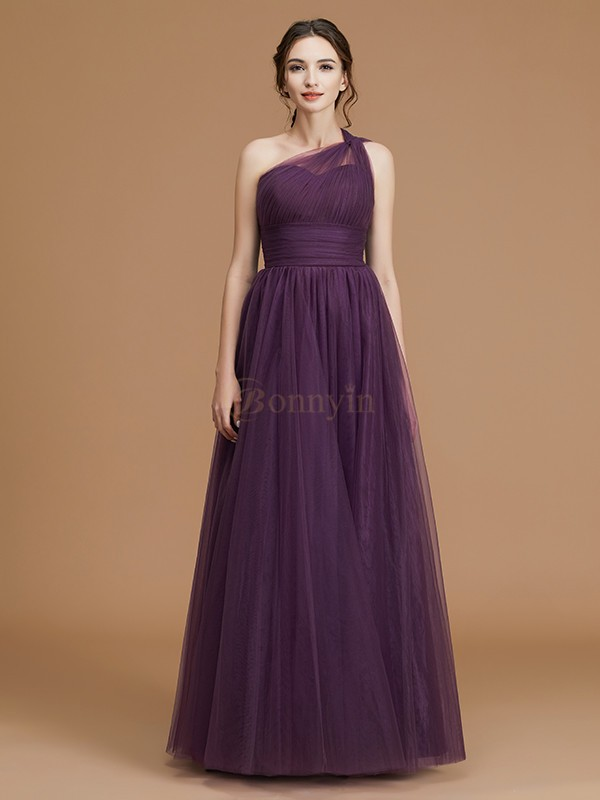 Grape Tulle One-Shoulder A-Line/Princess Floor-Length Bridesmaid Dresses