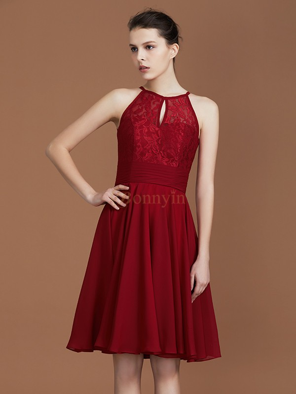 Burgundy Chiffon Shalterk A-Line/Princess Knee-Length Bridesmaid Dresses