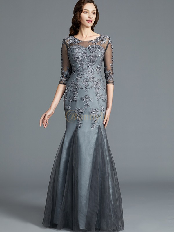 Grey Tulle Scoop Sheath/Column Floor-Length Mother of the Bride Dresses