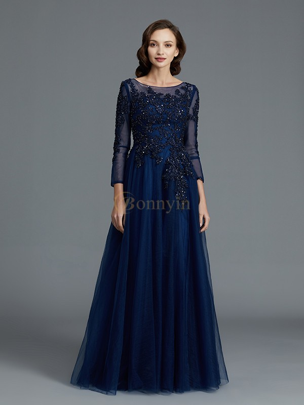 Dark Navy Tulle Scoop A-Line/Princess Floor-Length Mother of the Bride Dresses