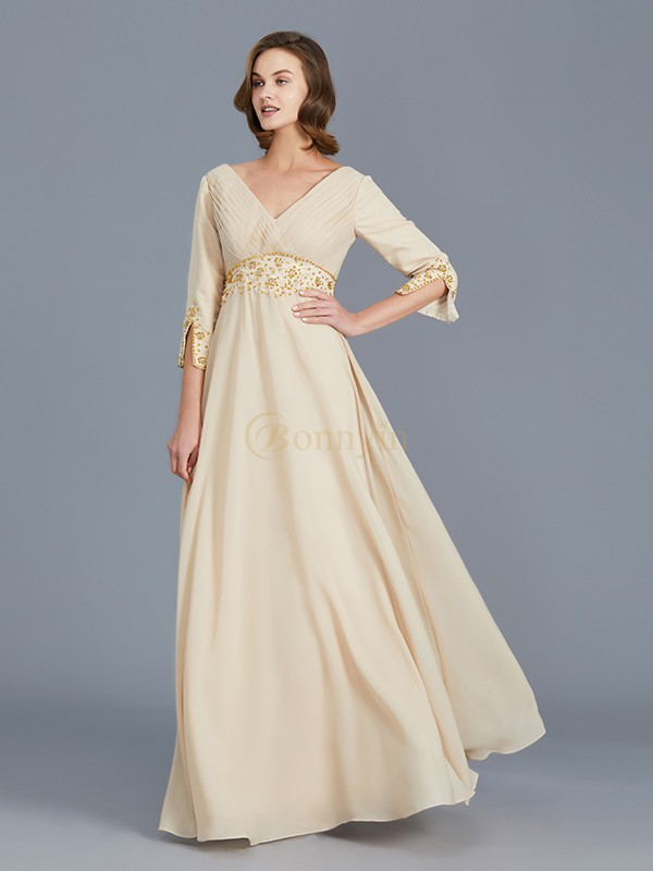 Champagne Chiffon V-neck A-Line/Princess Floor-Length Mother of the Bride Dresses