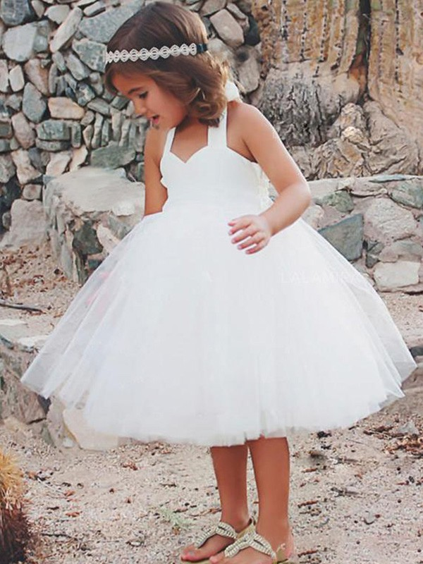 White Tulle Halter A-Line/Princess Tea-Length Flower Girl Dresses