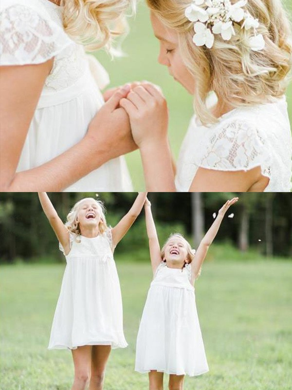 White Chiffon Scoop A-Line/Princess Knee-Length Flower Girl Dresses