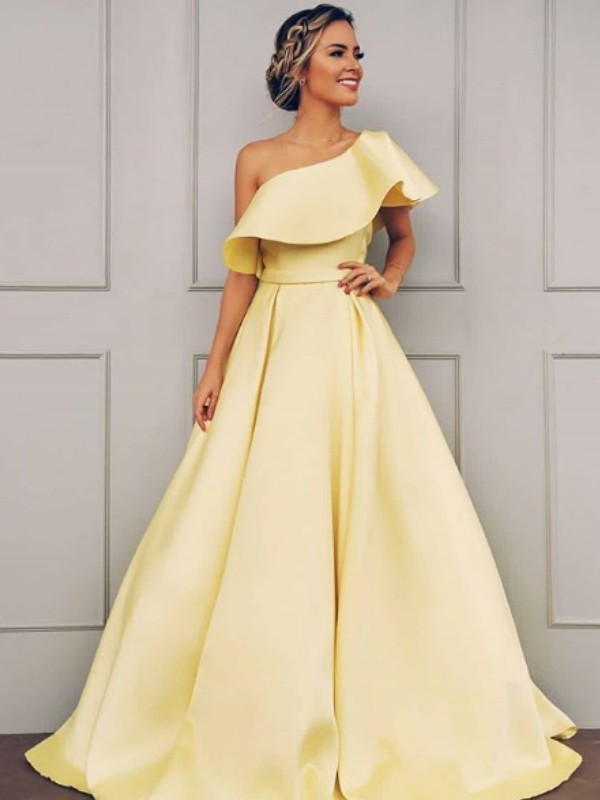 Daffodi Satin One-Shoulder A-Line/Princess Sweep/Brush Train Dresses