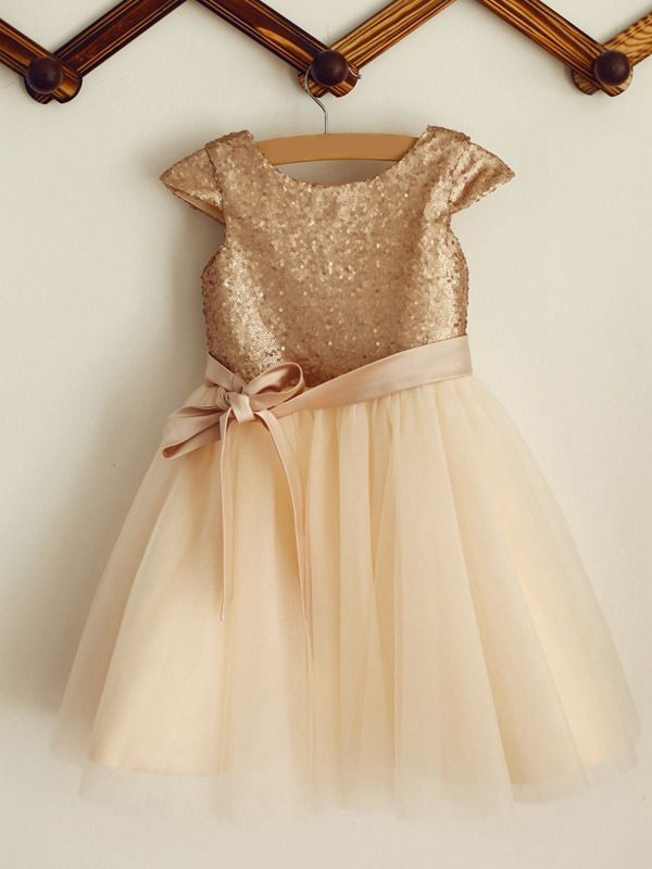 Champagne Sequins Scoop A-Line/Princess Knee-Length Flower Girl Dresses