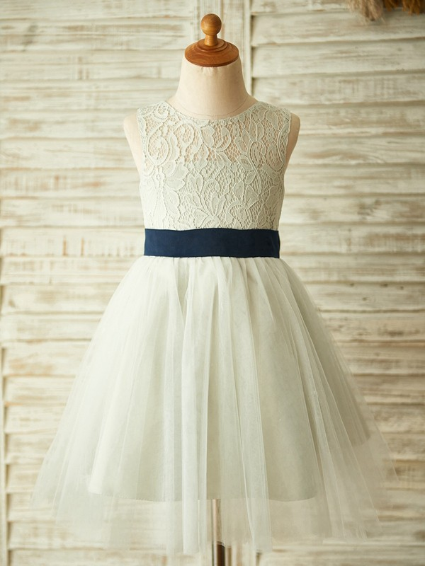 Silver Tulle Scoop A-Line/Princess Knee-Length Flower Girl Dresses