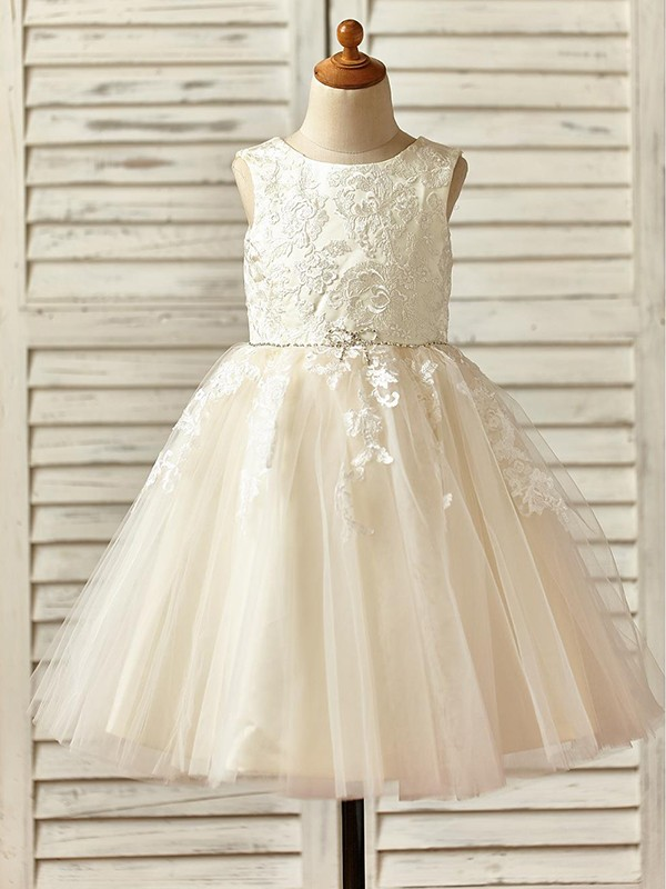 Champagne Tulle Scoop A-Line/Princess Knee-Length Flower Girl Dresses