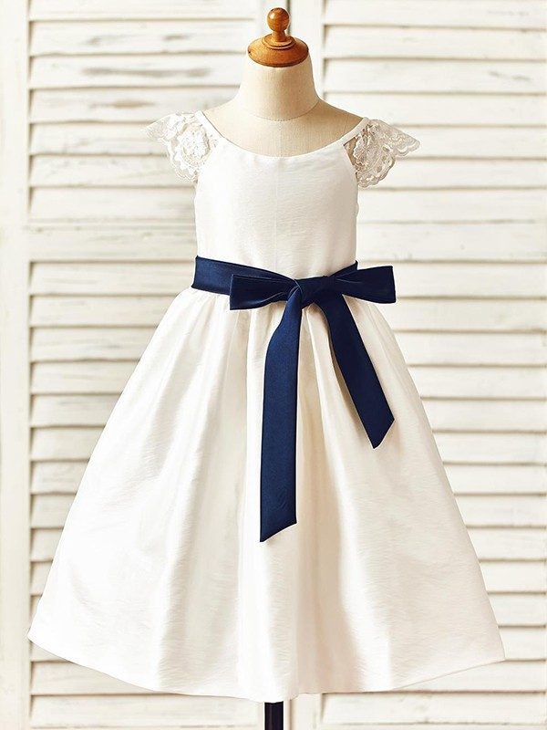Ivory Taffeta Scoop A-Line/Princess Knee-Length Flower Girl Dresses