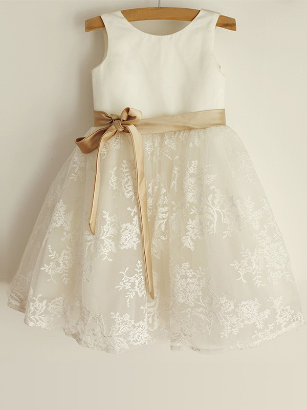 Ivory Satin Scoop A-Line/Princess Knee-Length Flower Girl Dresses