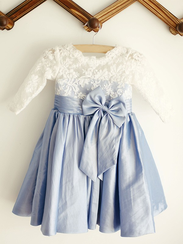 Blue Taffeta Scoop A-Line/Princess Knee-Length Flower Girl Dresses