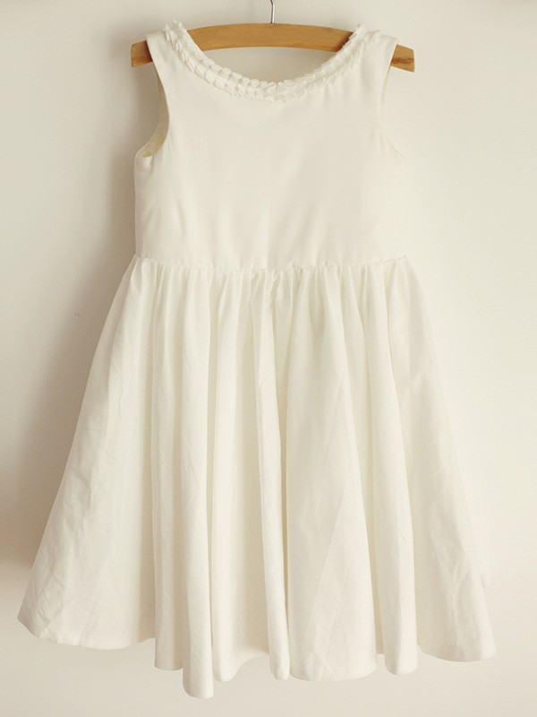Ivory Spandex Scoop A-Line/Princess Knee-Length Flower Girl Dresses