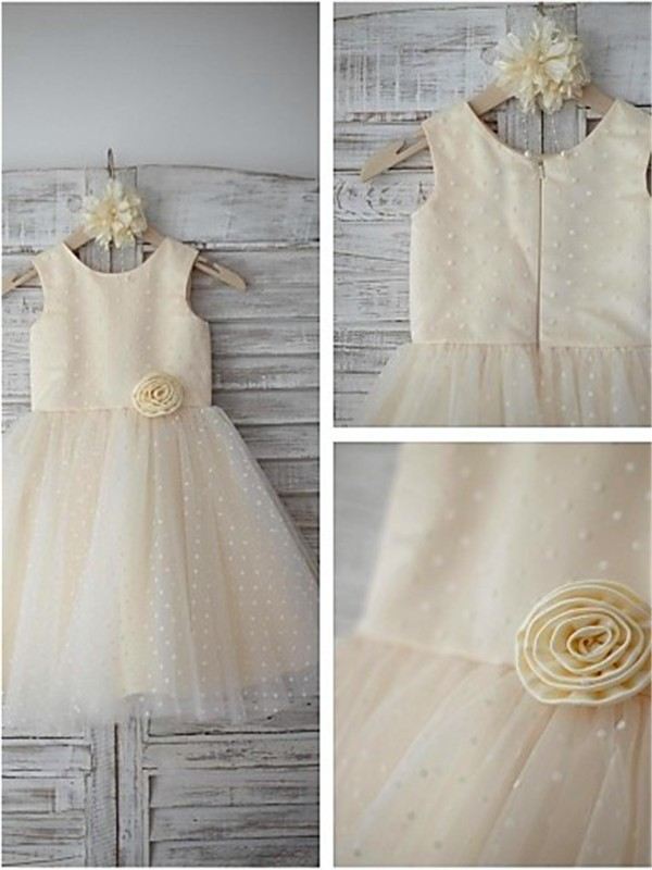 Champagne Tulle Scoop A-line/Princess Tea-Length Flower Girl Dresses