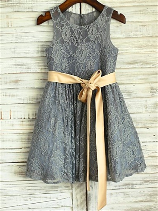 Grey Lace Scoop A-line/Princess Tea-Length Flower Girl Dresses