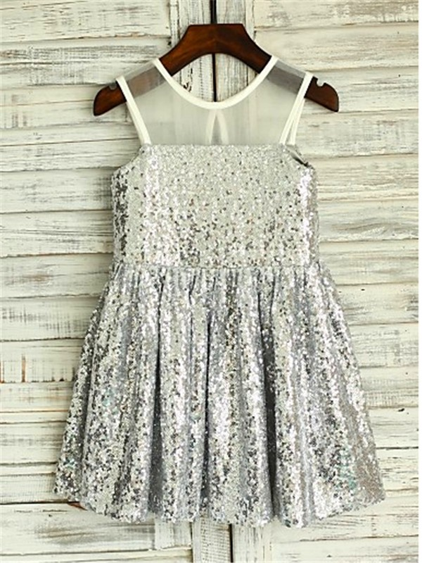 Silver Sequins Scoop A-line/Princess Tea-Length Flower Girl Dresses