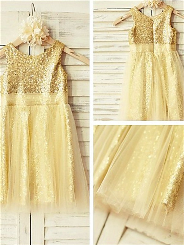 Gold Sequins Scoop A-line/Princess Tea-Length Flower Girl Dresses