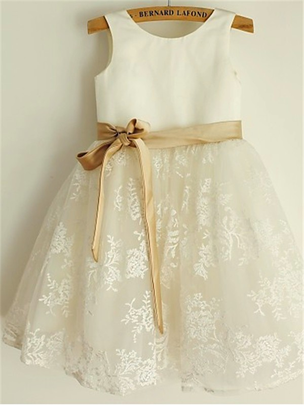 White Lace Scoop A-line/Princess Tea-Length Flower Girl Dresses
