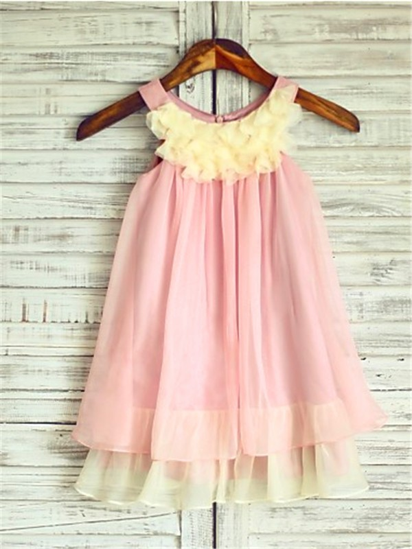 Pink Chiffon Straps A-line/Princess Tea-Length Flower Girl Dresses