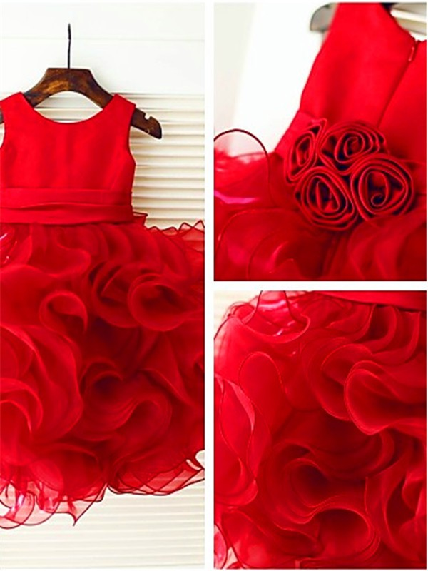 Red Organza Scoop Ball Gown Tea-Length Flower Girl Dresses