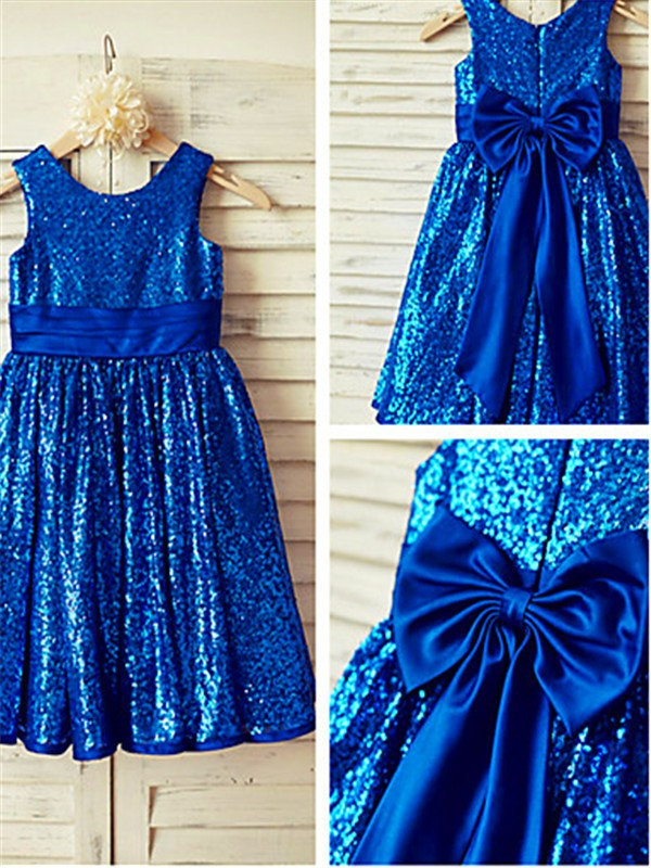 Royal Blue Sequins Scoop A-line/Princess Tea-Length Flower Girl Dresses
