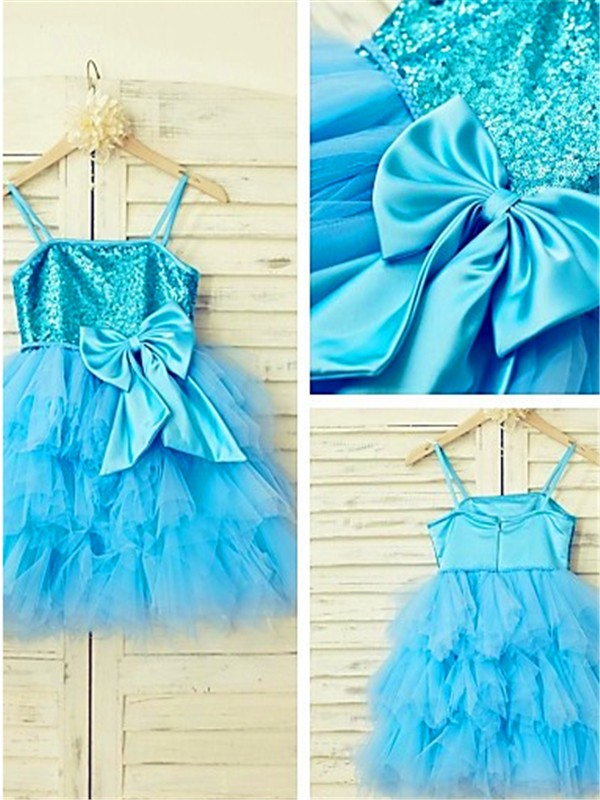 Net Spaghetti Straps A-line/Princess Tea-Length Flower Girl Dresses