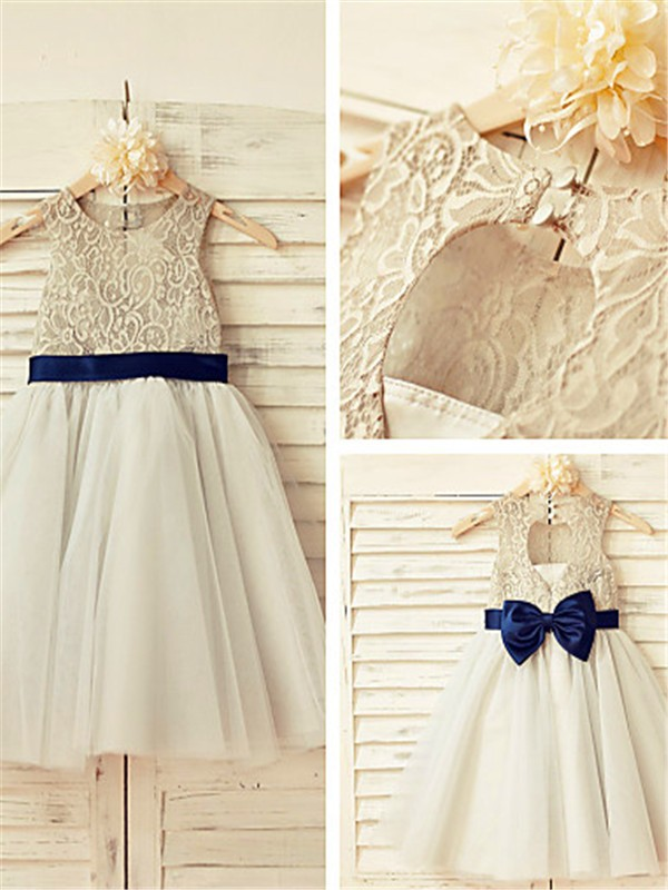 Tulle Scoop A-line/Princess Tea-Length Flower Girl Dresses
