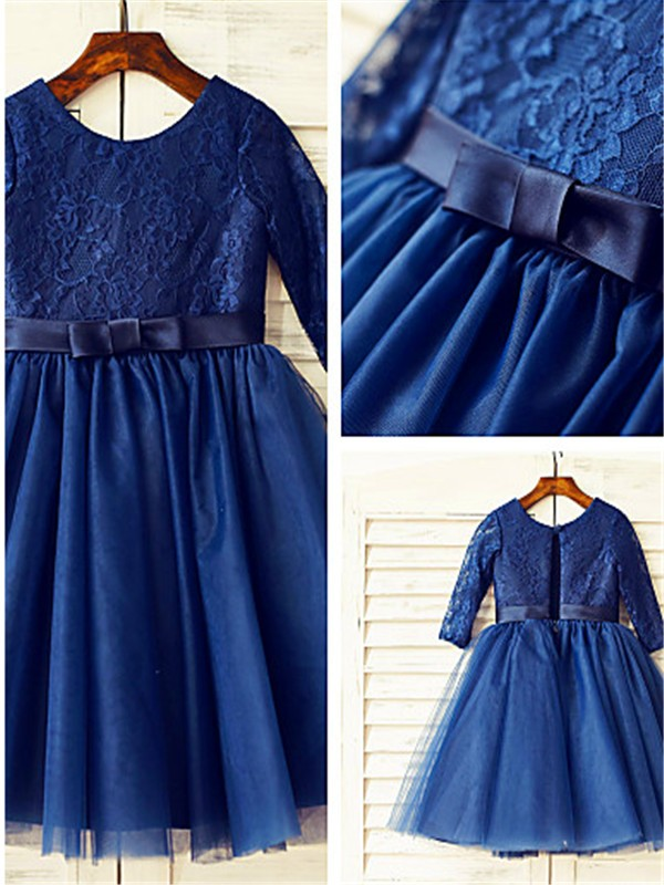 Dark Navy Tulle Scoop A-line/Princess Tea-Length Flower Girl Dresses