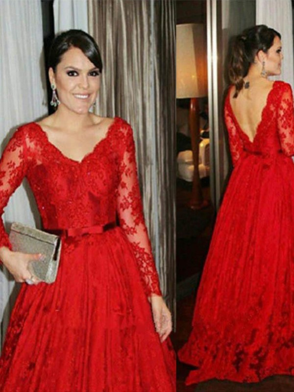Red Lace V-neck Ball Gown Sweep/Brush Train Mother of the Bride Dresses