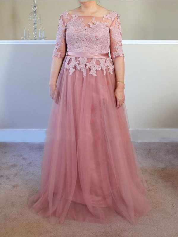 Pearl Pink Tulle Bateau A-Line/Princess Floor-Length Mother of the Bride Dresses