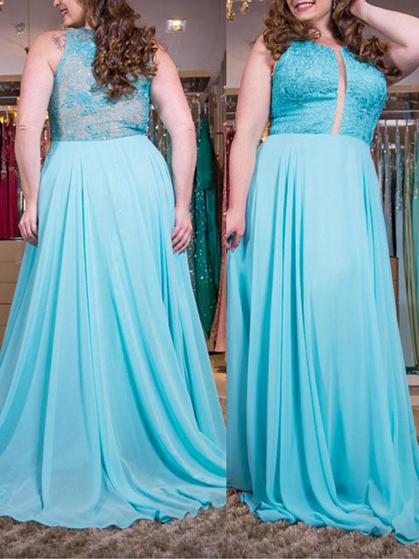 Blue Chiffon Scoop A-Line/Princess Sweep/Brush Train Plus Size Dresses