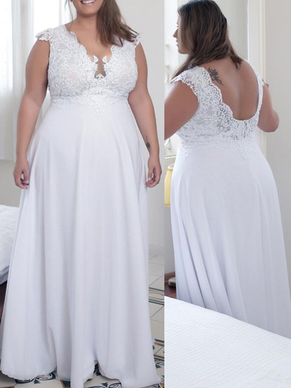 White Chiffon V-neck A-Line/Princess Floor-Length Plus Size Dresses