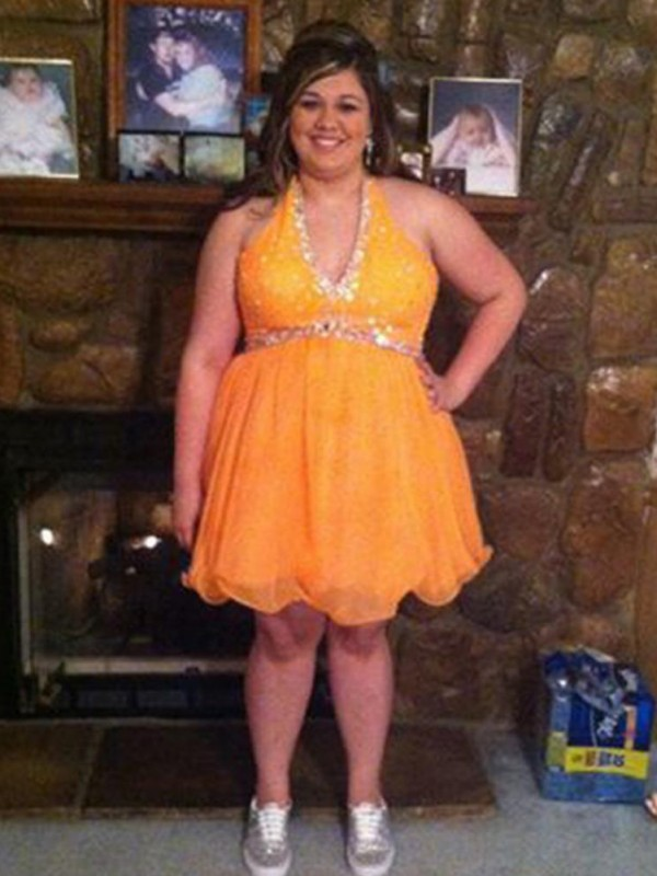 Orange Organza Halter A-Line/Princess Short/Mini Plus Size Dresses