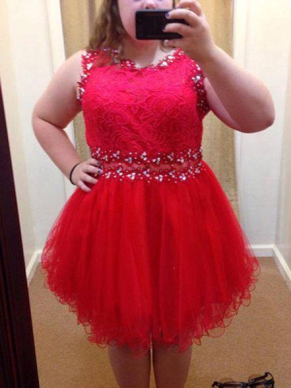 Red Organza Scoop A-Line/Princess Short/Mini Plus Size Dresses