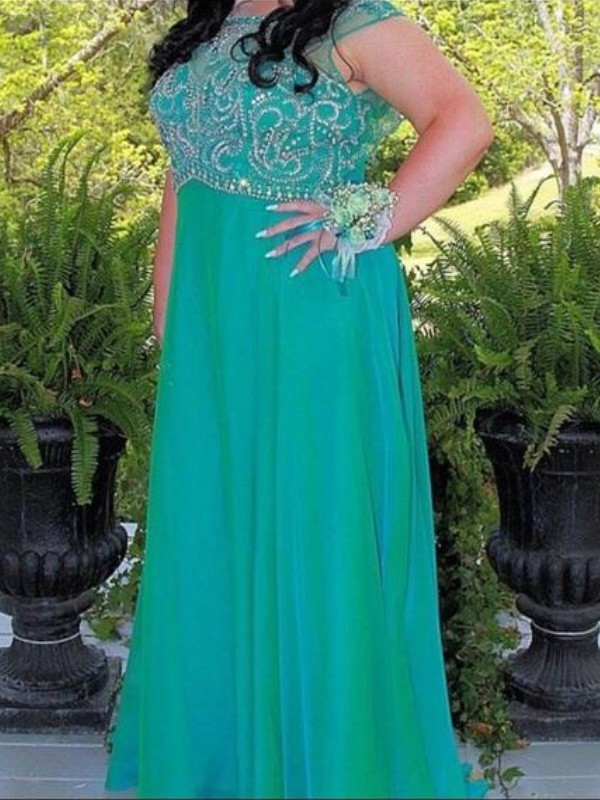Green Chiffon Scoop A-Line/Princess Floor-Length Plus Size Dresses
