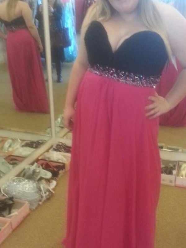 Fuchsia Chiffon Sweetheart A-Line/Princess Floor-Length Plus Size Dresses