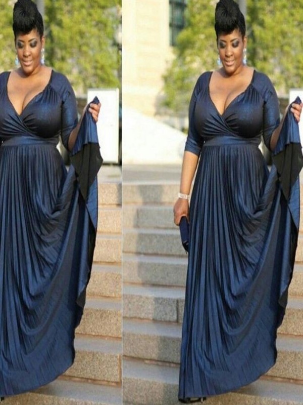 Dark Navy Elastic Woven Satin V-neck A-Line/Princess Floor-Length Mother of the Bride Dresses
