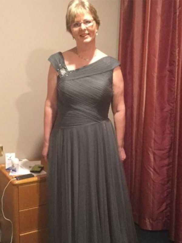 Grey Tulle Straps A-Line/Princess Floor-Length Mother of the Bride Dresses