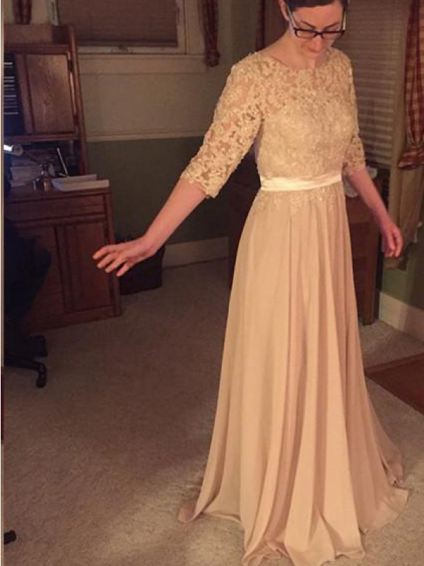 Champagne Chiffon Sheer Neck A-Line/Princess Floor-Length Mother of the Bride Dresses