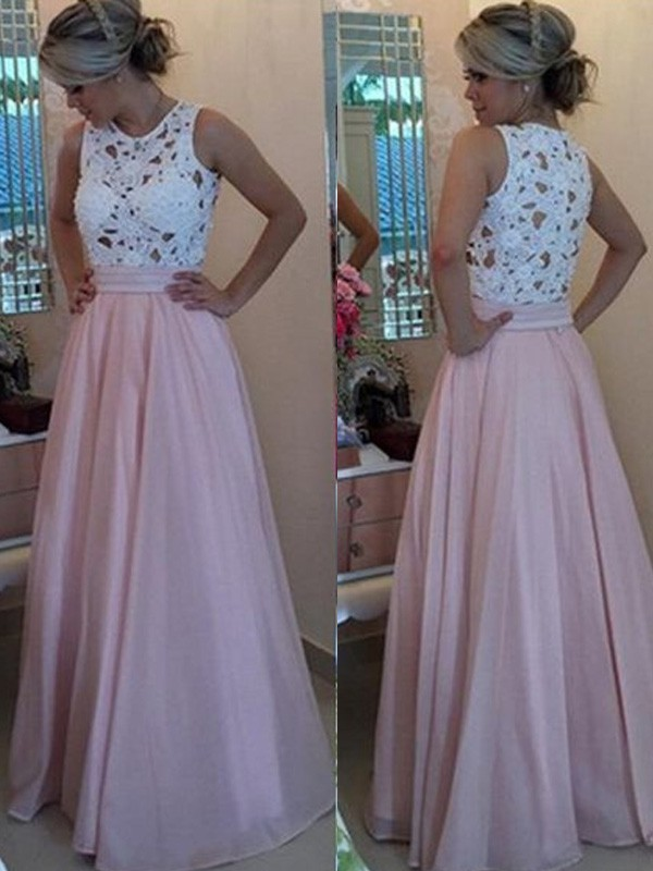 Pink Organza Scoop A-Line/Princess Floor-Length Prom Dresses