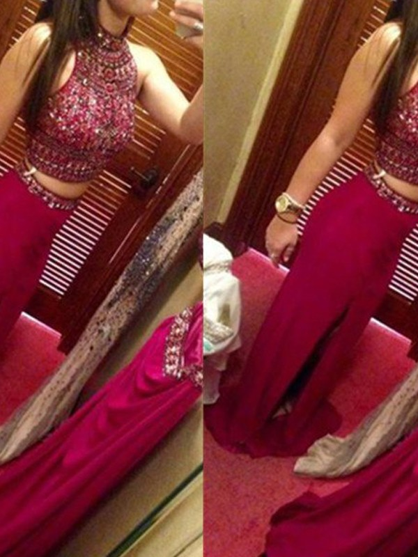 Red Chiffon Jewel Sheath/Column Floor-Length Prom Dresses