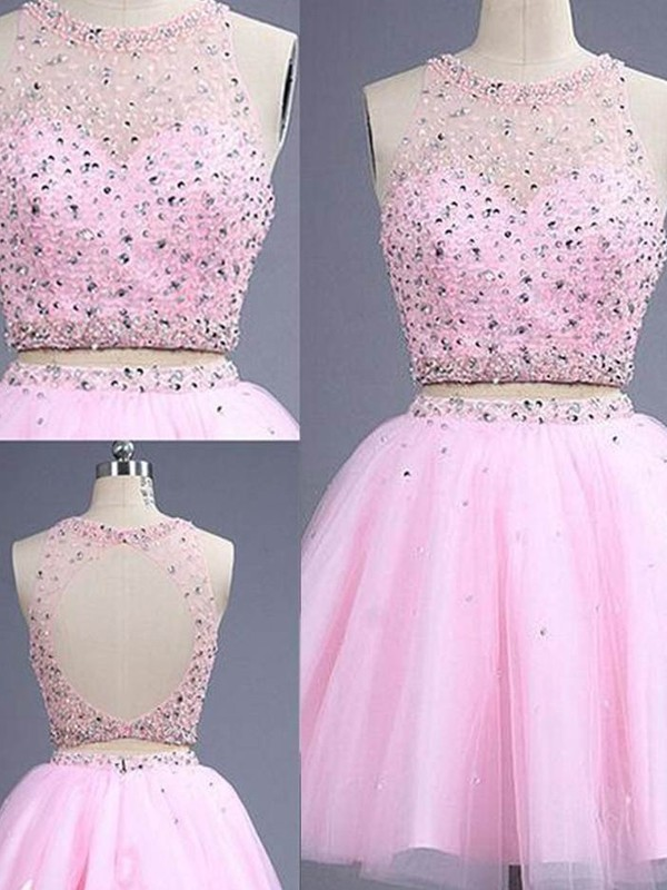 Pink Tulle Scoop A-Line/Princess Short/Mini Prom Dresses